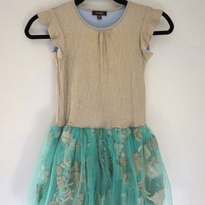 IMOGA Turquoise & Gold Embroidered Tulle Dress